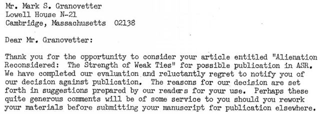 Granovetter rejection letter