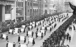 Women's suffragists parade in New York City in 1917.  The right of women to vote in the US, was established over nationally in 1920.