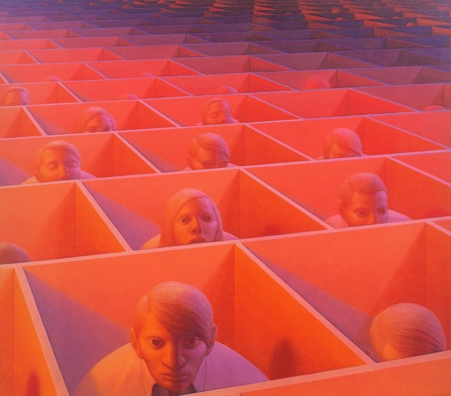 Landscape With Figures. Artwork by George Tooker